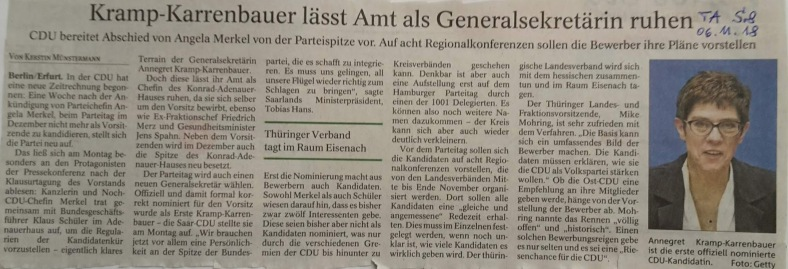 TA-Artikel zur CDU-Vorsitz-Inszenierung 2018.11.06 1 Blog 08.11.18
