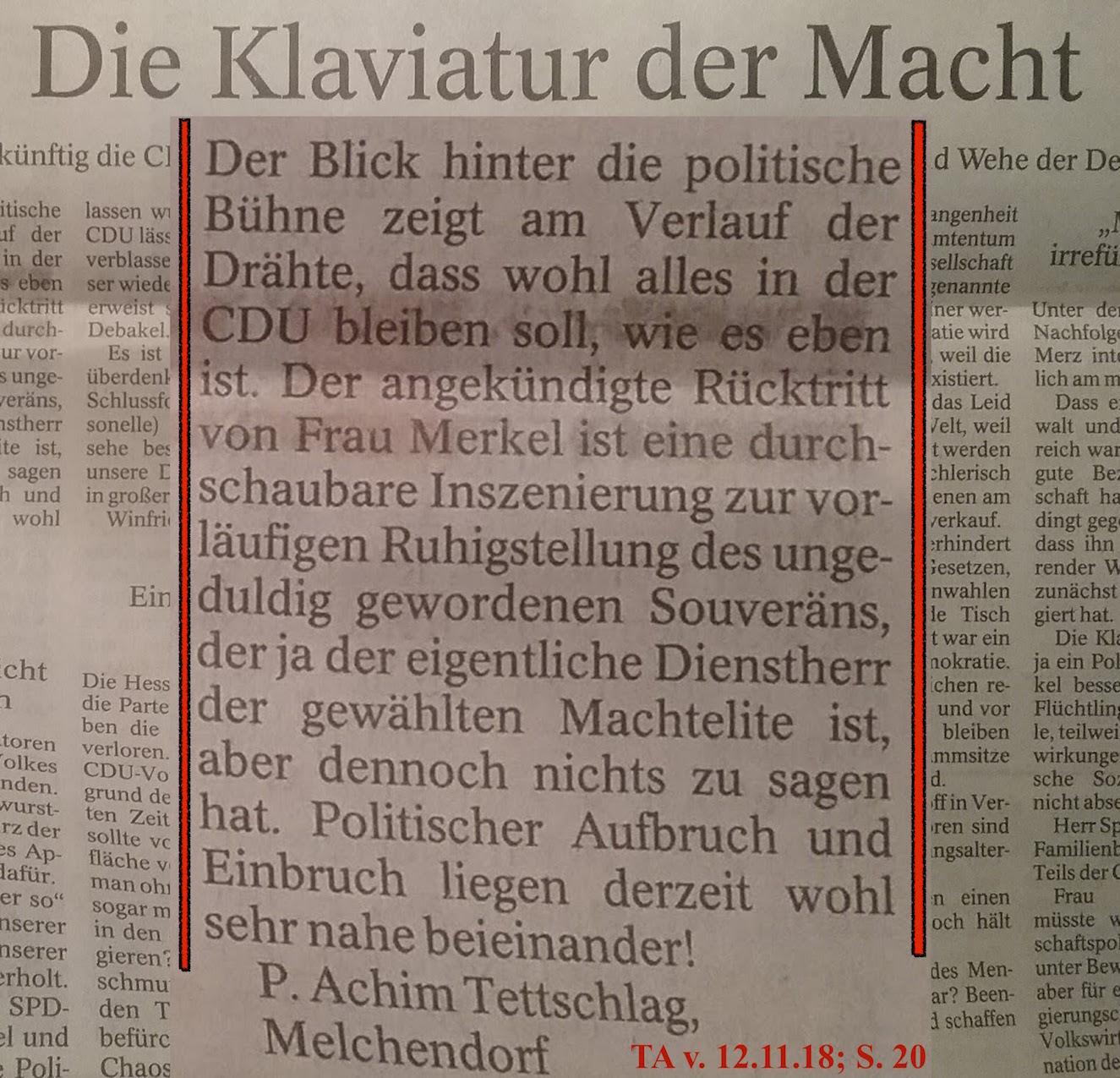 TA-Artikel zur CDU-Vorsitz-Inszenierung 2018.11.06 3 Blog 13.11.18