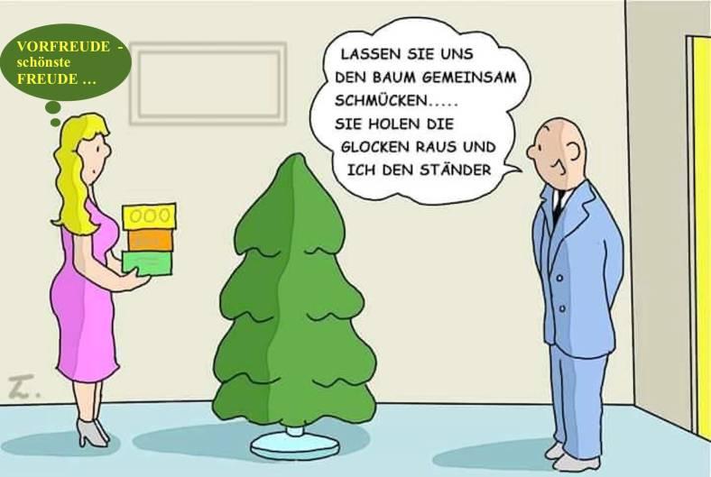 Karikatur WeihnachtensBaumSchmuckGemeinsamkeiten