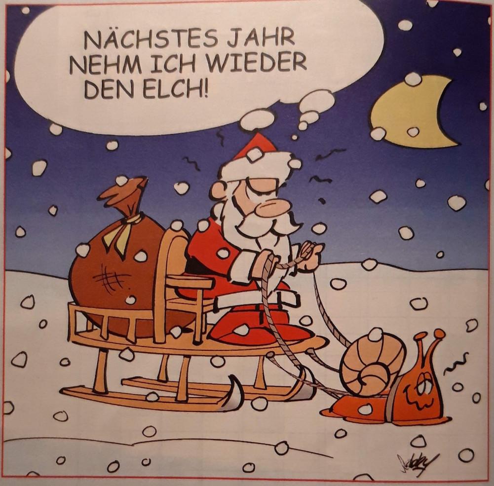 Karikatur Weihnachtsschlitten