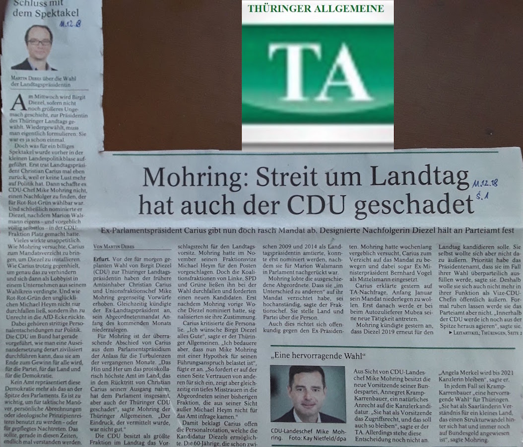 TA-Artikel über Querelen in Thür. CDU_Fraktion 2018.12.11 1 Blog 14.12.18