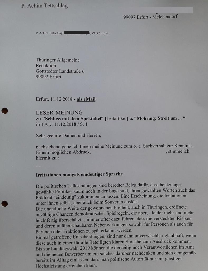 TA-Artikel über Querelen in Thür. CDU_Fraktion 2018.12.11 2 Blog 14.12.18