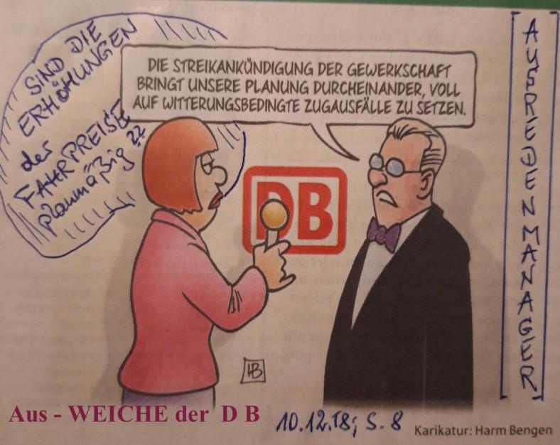 Karikatur BundesBahn - AusWeichManöver